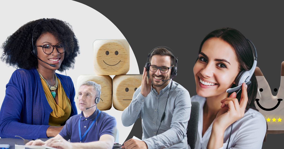 photo collage of people working in customer services